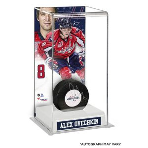 Autographed Alex Ovechkin Puck with Deluxe Tall Hockey Puck Case
