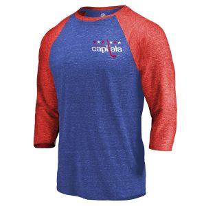 Men's Washington Capitals Fanatics Branded Royal/Red Refresh Shift 3/4-Sleeve Raglan T-Shirt