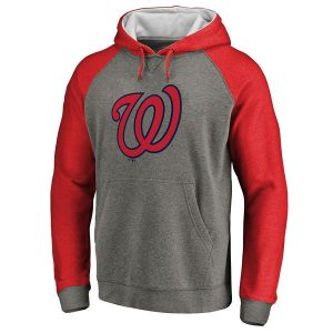 Men's Washington Nationals Ash Primary Logo Raglan Sleeve Tri-Blend Pullover Hoodie