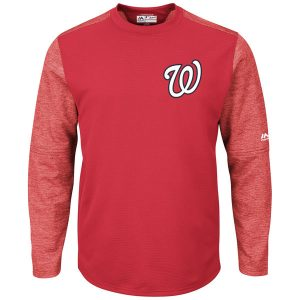 Men's Washington Nationals Majestic On-Field Tech Fleece Pullover Sweatshirt