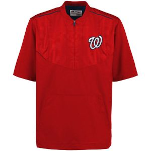Men's Washington Nationals Majestic Red On-Field Training Half Zip Pullover Jacket