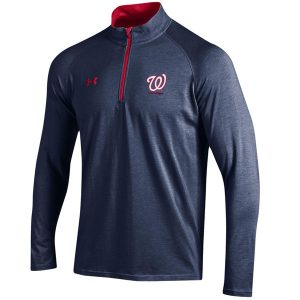 Men's Washington Nationals Under Armour Navy/Red Charged Quarter-Zip Pullover Jacket