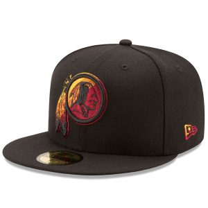 Men's Washington Redskins New Era Black Color Dim 59FIFTY Fitted Hat