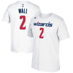 Men's Washington Wizards John Wall adidas White Net Number T-Shirt