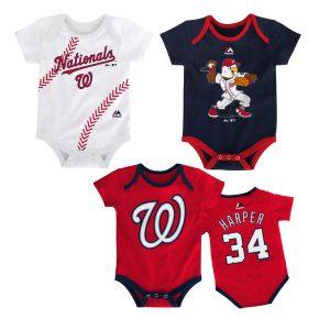 Newborn & Infant Washington Nationals Bryce Harper Majestic Red Name & Number 3-Pack Set