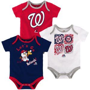 Newborn & Infant Washington Nationals Majestic Go Team 3-Pack Bodysuit Set