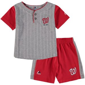 Toddler Washington Nationals Majestic Gray/Red Batter Up T-Shirt & Shorts Set