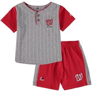 Toddler Washington Nationals Majestic Gray/Red Batter Up T-Shirt & Shorts Set