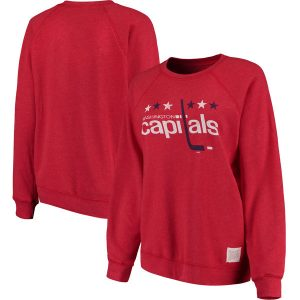 Washington Capitals Original Retro Brand Women's Vintage Tri-Blend Pullover Sweatshirt