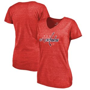Washington Capitals Women's Distressed Team Primary Logo Tri-Blend T-Shirt
