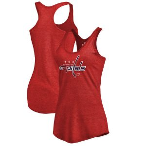 Washington Capitals Women's Distressed Team Primary Logo Tri-Blend Tank Top