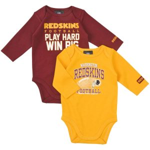 Washington Redskins Newborn Play Hard 2-Pack Long Sleeve Creeper Set