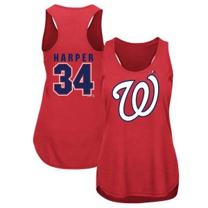 Women's Washington Nationals Bryce Harper Majestic Red Men of October Player Tank Top