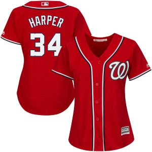 Women's Washington Nationals Bryce Harper Majestic Scarlet Cool Base Player Jersey
