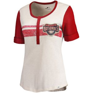 Women's Washington Nationals Fanatics Branded Cream/Red True Classics Henley T-Shirt