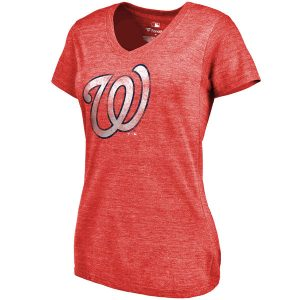 Women's Washington Nationals Red Primary Distressed Team Tri-Blend V-Neck