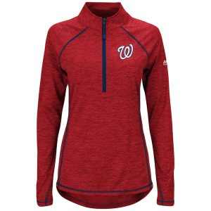 Women's Washington Nationals Majestic Red/Navy Don't Stop Trying Half-Zip Pullover Jacket