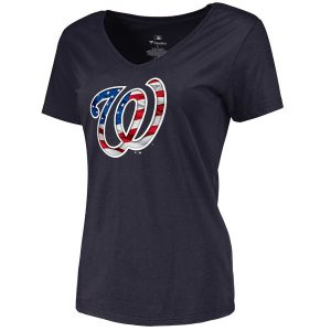 Women's Washington Nationals Navy Banner Wave Slim Fit T-Shirt