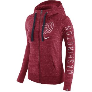 Women's Washington Nationals Nike Heather Red Vintage Full-Zip Hoodie