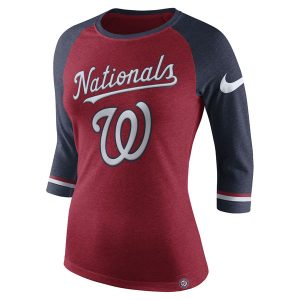 Women's Washington Nationals Nike Red Tri-Blend 3/4-Sleeve Raglan T-Shirt