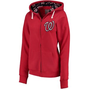 Women's Washington Nationals Soft as a Grape Red Line Drive Full-Zip Hoodie
