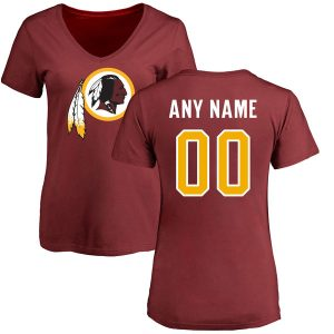 Women's Washington Redskins NFL Any Name & Number Logo Personalized Slim Fit T-Shirt
