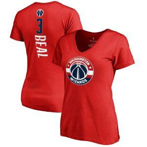 Women's Washington Wizards Bradley Beal Red Backer V-Neck T-Shirt