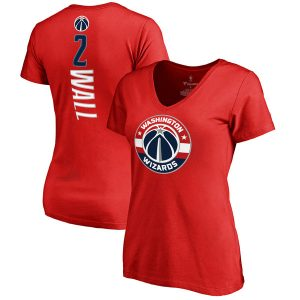 Women's Washington Wizards John Wall Red Backer V-Neck T-Shirt
