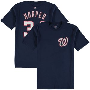 Youth Washington Nationals Bryce Harper Majestic Navy Player Name & Number T-Shirt