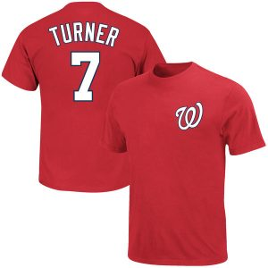 Youth Washington Nationals Trea Turner Majestic Red Player Name & Number T-Shirt