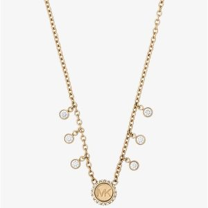 Crystal Gold-Tone Logo Necklace