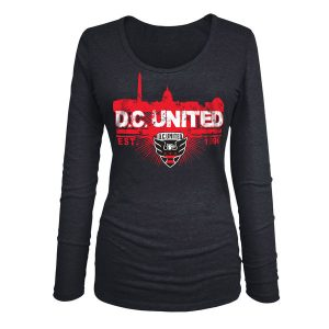 D.C. United 5th & Ocean by New Era Women's Tri-Blend U-Neck Long Sleeve T-Shirt