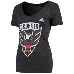 D.C. United adidas Women's Pearlized Pattern Tri-Blend V-Neck T-Shirt