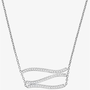 Pavé Silver-Tone Wave Pendant Necklace
