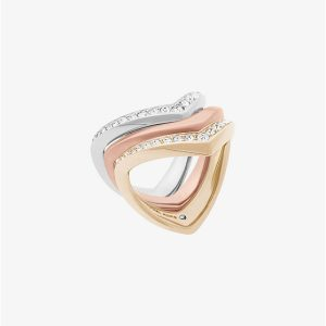 Pavé Tri-Tone Stacking Rings
