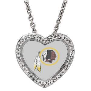 Washington Redskins Women's 18″ Sterling Silver Necklace with Heart Pendant