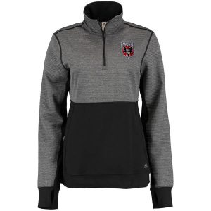 Women's D.C. United adidas Gray/Black Quarter-Zip Two-Tone Jacket