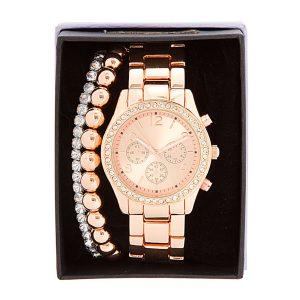 Rose Gold Boyfriend Watch Set