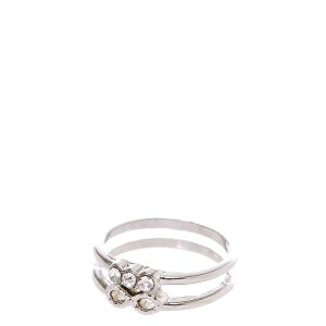 Silver-tone Skinny Double Band Infinity and Crystal Trio Midi Ring
